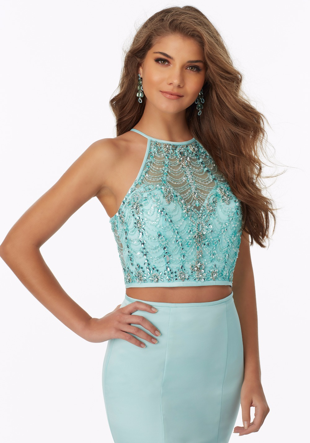 Mint 2 Pieces Mermaid Prom Dresses 2017 Beaded Top Fitted Satin ...