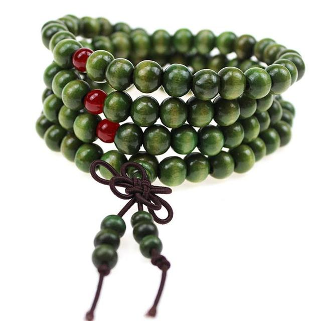 108 6 Mm Natural Sandalwood Buddha In Meditation Beads Bracelet Men Jewelry Rosary Prayer
