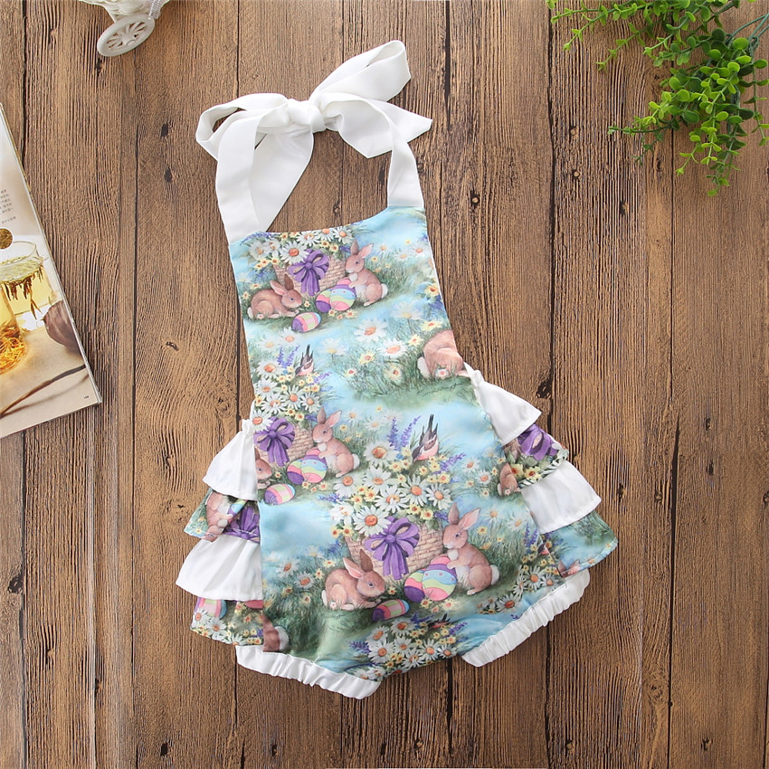 d195c3631b 2018 Toddler Newborn Kids Baby Girls Clothes Cartoon Bunny Ruffle Romper  Easter Costume Jumpsuit Princess Infant Girls Clothing-in Rompers from  Mother ...