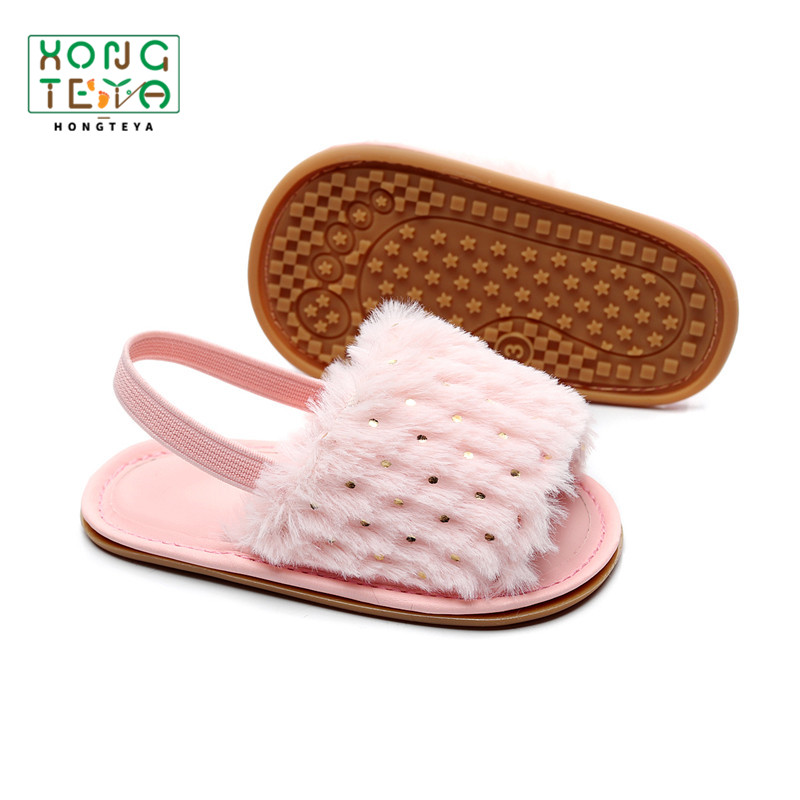 Fashion Baby Girl Sandals Soft Pom Hairy Slipper Sandals Infant Toddler Rubber Non-slip Princess Baby Shoes Elastic Sandals