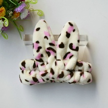 Pink Dot Rabbit Ear Headband