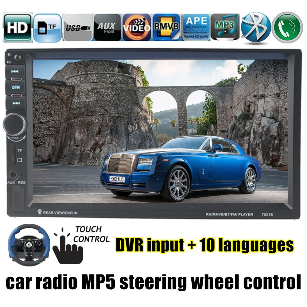Double 2 DIN 7 Inch Bluetooth touch screen video Car Radio Stereo MP4 MP5 Player DVR/rear camera input steering wheel control FM