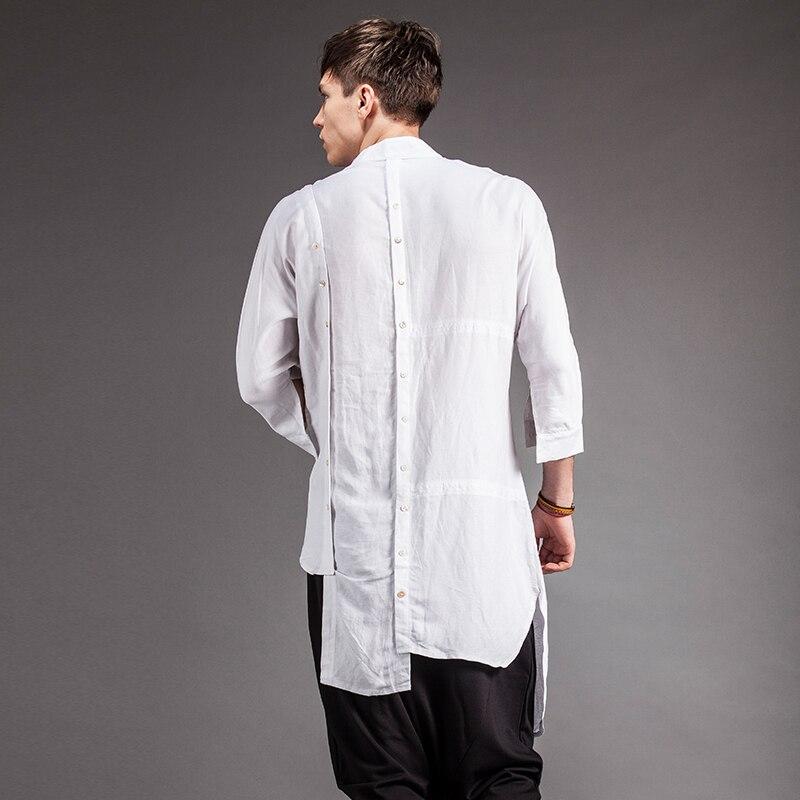 Независимые мужская одежда лето двубортный Асимметричный длинная рубашка дизайн. M-6XL!
