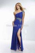 Royal Blue Schulter Lange Chiffon Promkleider Kristall Kurzen Ärmeln Sheer Zurück Sexy Abendkleider 2014 Kostenloser Versand