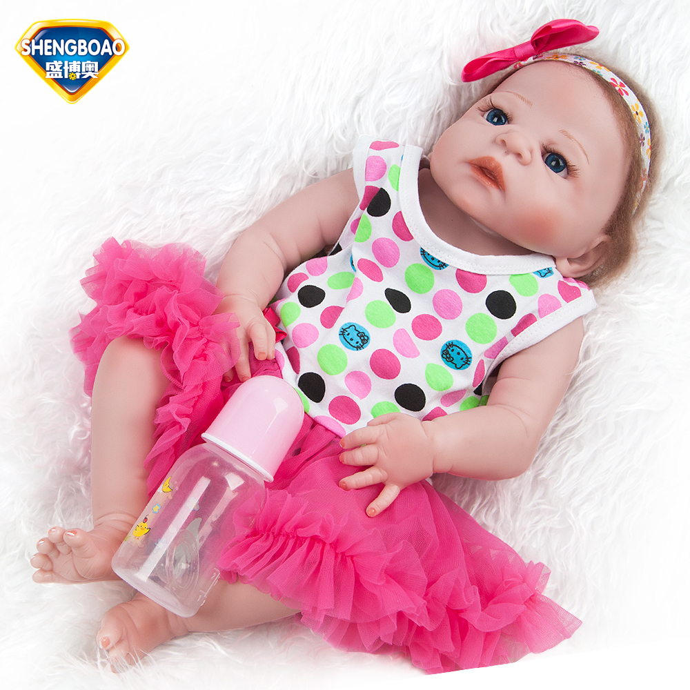 SHENGBOAO Reborn Baby Dolls 22inch Realistic Soft Silicone Reborn Baby Doll Girl Lifelike Babies Fashion Doll Toys for Children hot sale realistic baby dolls reborn girl 16 lifelike soft silicone babies reborn baby doll toys for children christmas gift