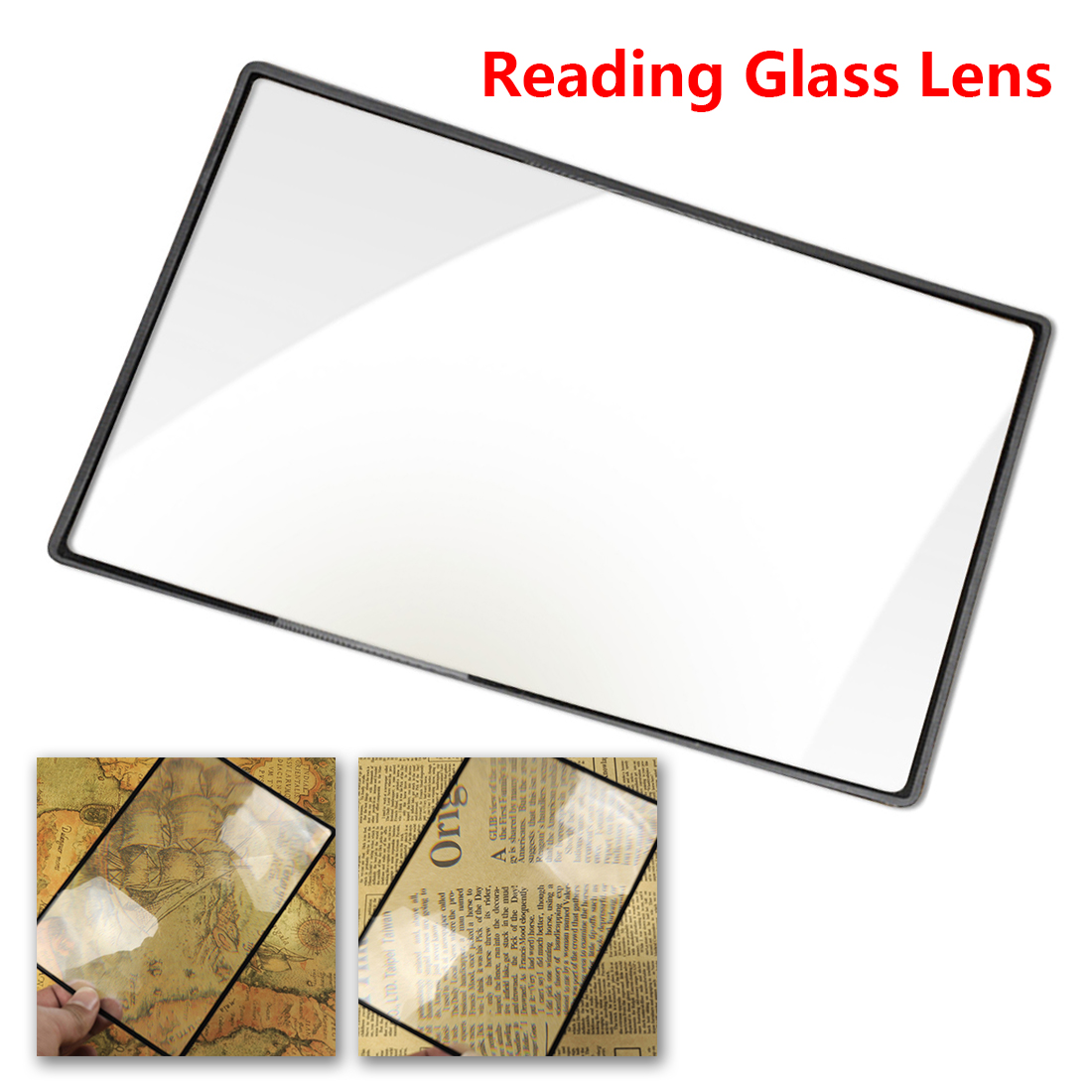 Reading Glass Lens 180X120mm Convinient A5 Flat PVC Magnifier Sheet X3 Book Page Magnification Magnifying kudos x3 black page 8