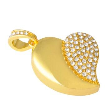 Gold U Disk Flash Disk Crystal Heart 64GB 32GB 16GB Jewelry Usb Flash Drive Jewelry Usb Memory Pen Driver Gifts Gadget Pendrive