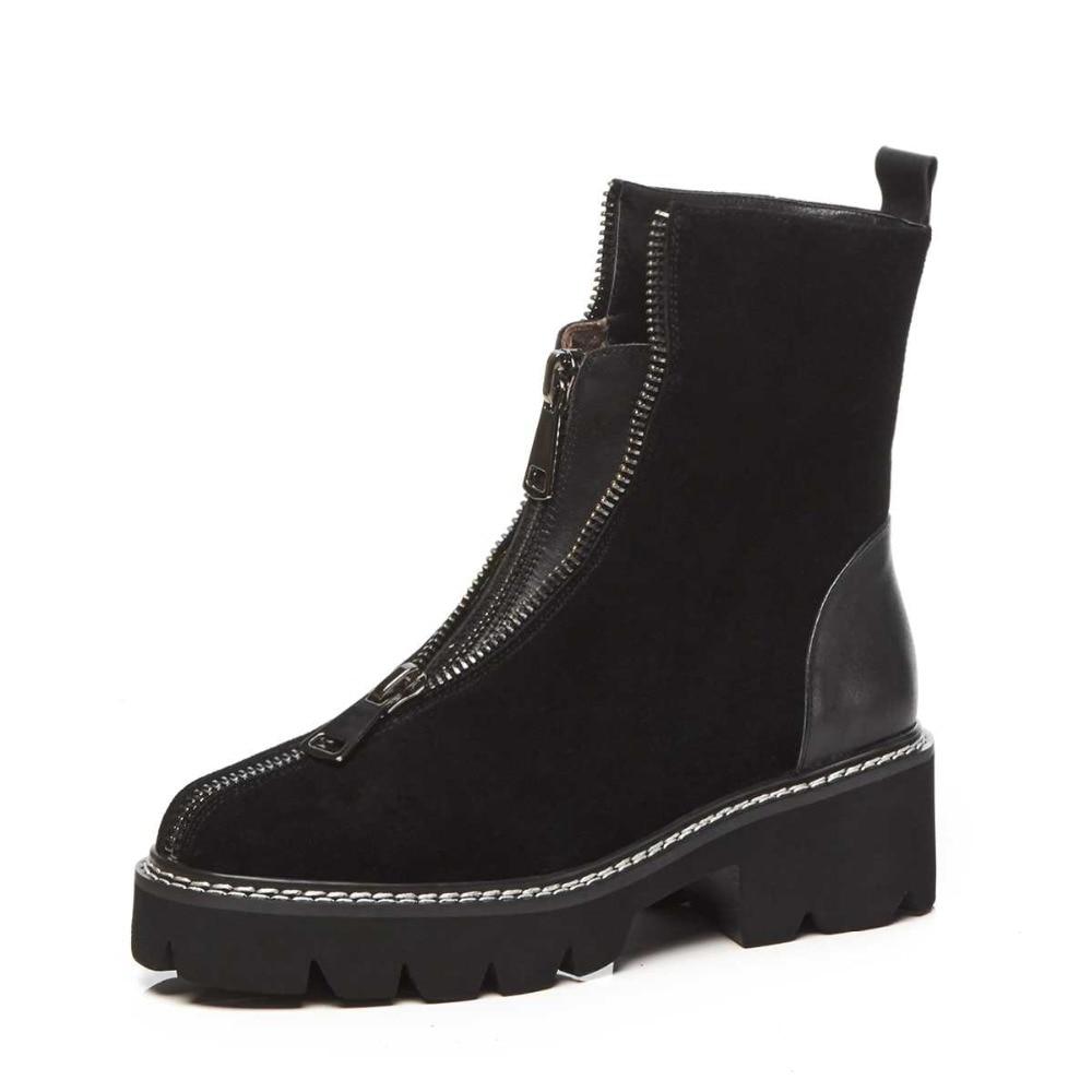 Krazing 냄비 암소 스웨이드 둥근 발가락 두꺼운 하이힐 플랫폼 서양 부츠 파티 경력 사무실 숙녀 앞 지퍼 발목 부츠 l16-에서앵클 부츠부터 신발 의  그룹 3