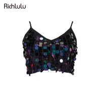 Richlulu Sexy Black Purple Crop Tops Women Sleeveless Backless Shining Sequined Vests Female Zipper Casual Tanks