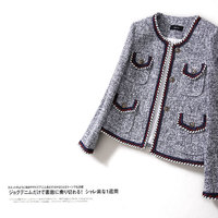 New cutting WT0015 street snap star model of autumn winter tweed delicate show thin yarn dyed with sweet wind coat