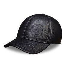 цена на HL023 genuine leather men baseball cap hat CBD high quality men's real leather adult solid adjustable hats caps