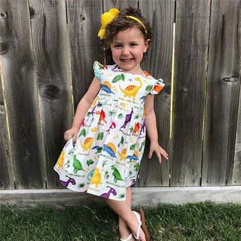 Vestido de algodón de dinosaurio bonito para niña pequeña, vestidos de vendaje sin espalda con tirantes de verano, vestido de fiesta para tutú de niña, vestido infantil 4JJ