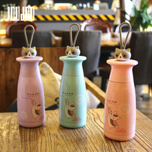 JOUDOO Cartoon Cat Creative Thermos Cup Cute Men and Women Student Thermal Portable Stainless Steel Sport Bottle 35