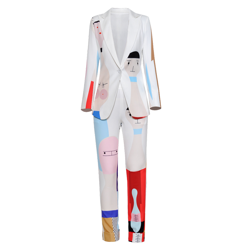Women's Sets Long Sleeve Cartoon Geometric Print One Button Turn-down Collar Blazer +  Pencil Pants Fashion Suit 2018 Autumn New