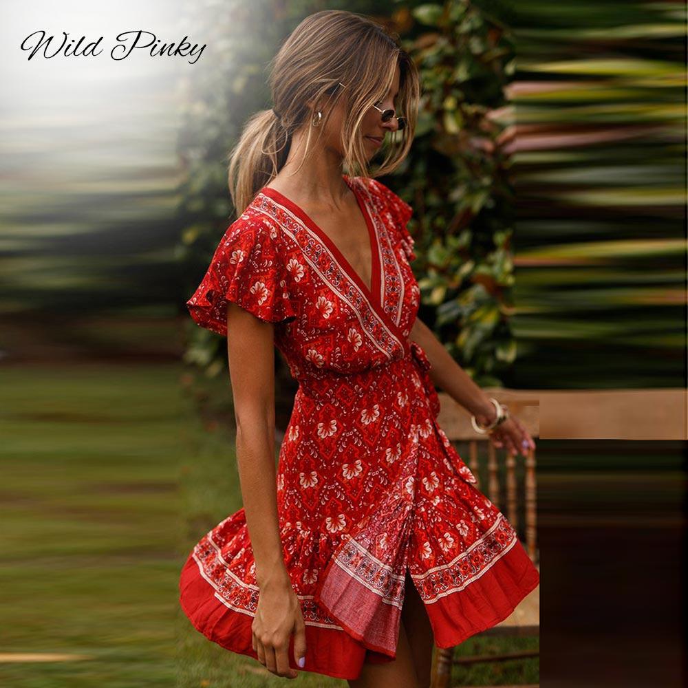WildPinky Bohemian Floral Mini Women Summer Dress Festa V neck Ruffle Bandage Dress Female 2019 Elegant Holiday Beach Sundress in Dresses from Women 39 s Clothing