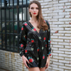 Missord 2018 Sexy Casual Deep V Long Sleeve Flower Embroidery Sequin Playsuit FT8589