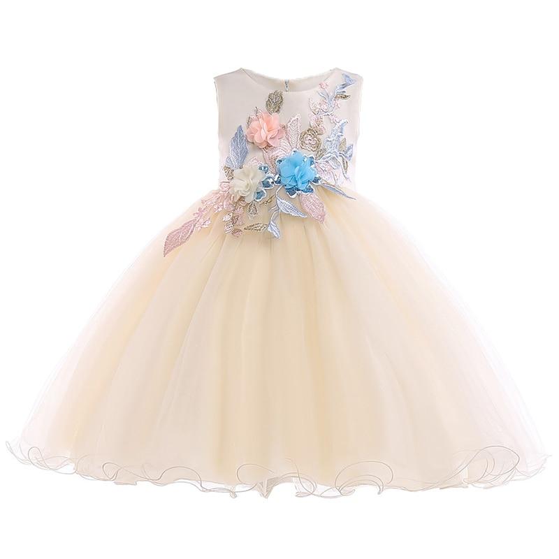 2018 Summer Baby Kids Dresses For Girls Children Clothing Flower Girls Dress Elegant Party Wedding Dress Princess Dress 10 Years