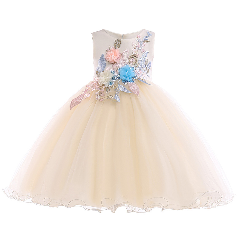 2018 Summer Baby Kids   Dresses   For   Girls   Children Clothing   Flower     Girls     Dress   Elegant Party Wedding   Dress   Princess   Dress   10 Years