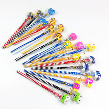10pcs/lot  Cartoon Stripe Ten Wooden Pencil With Rubber Stationery Set Kids Gift Prize