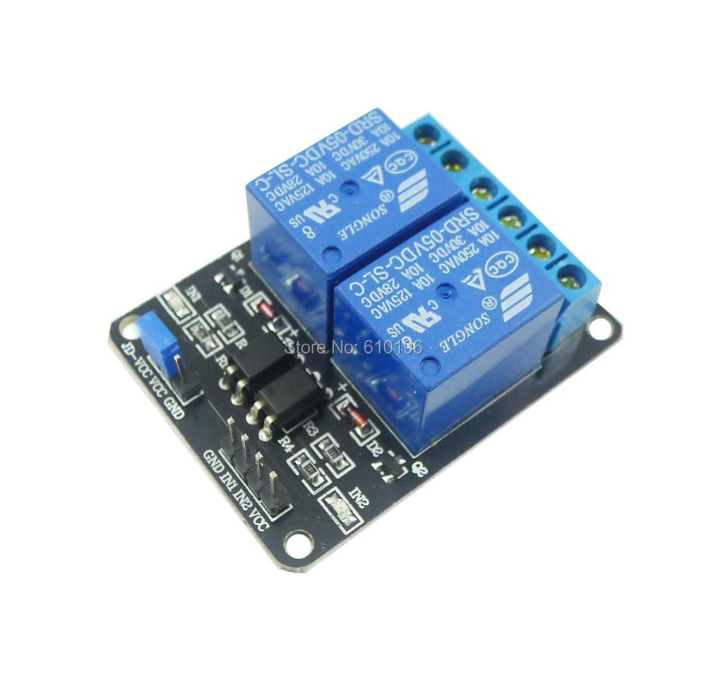 5pcs Lot 2 Channel New 5v Relay Module Shield For The 8way Board Arduino Arm Pic Avr Dsp Electronic With Optocoupler Dropshipping
