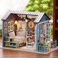 Miniatura dollhouse De Madeira Pequena Casa de Brinquedo Diy Handmade FLORESTA VEZES Com Tampa Protetora Contra Poeira Menina Presentes de Aniversário Modelo Brinquedos para crianças