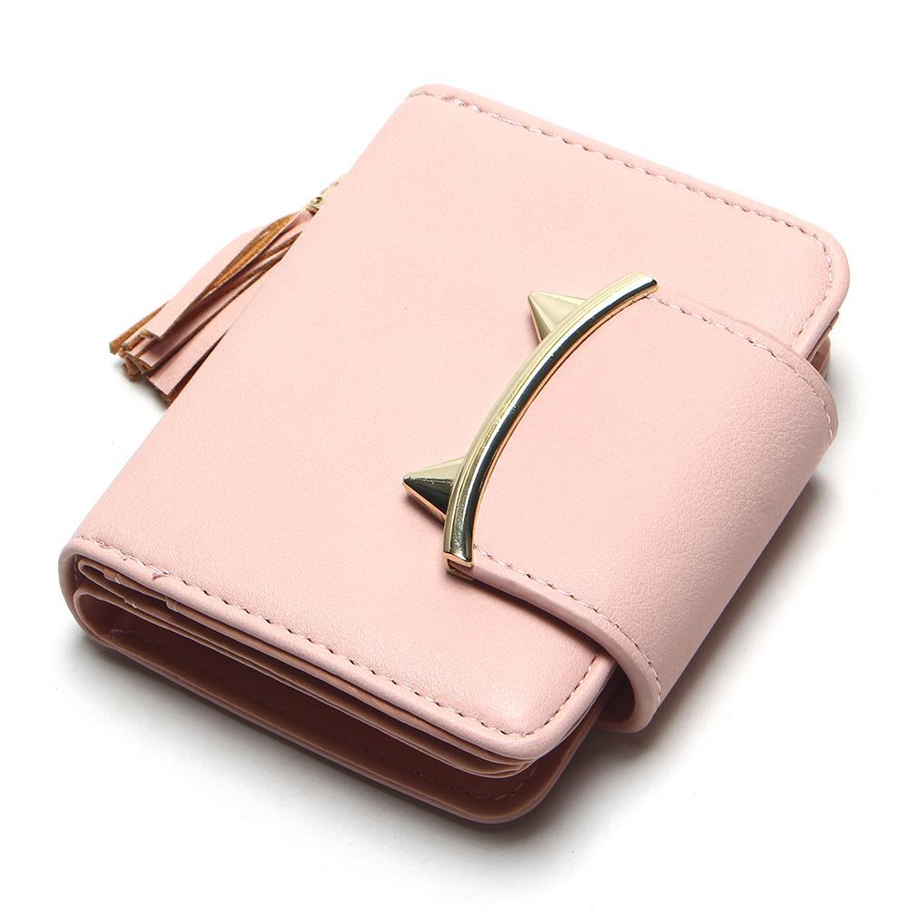 63d24824e48 VESNA Korean Cute Cat Ear Anime Tiger Tooth Trifold Slim Mini Wallet ...