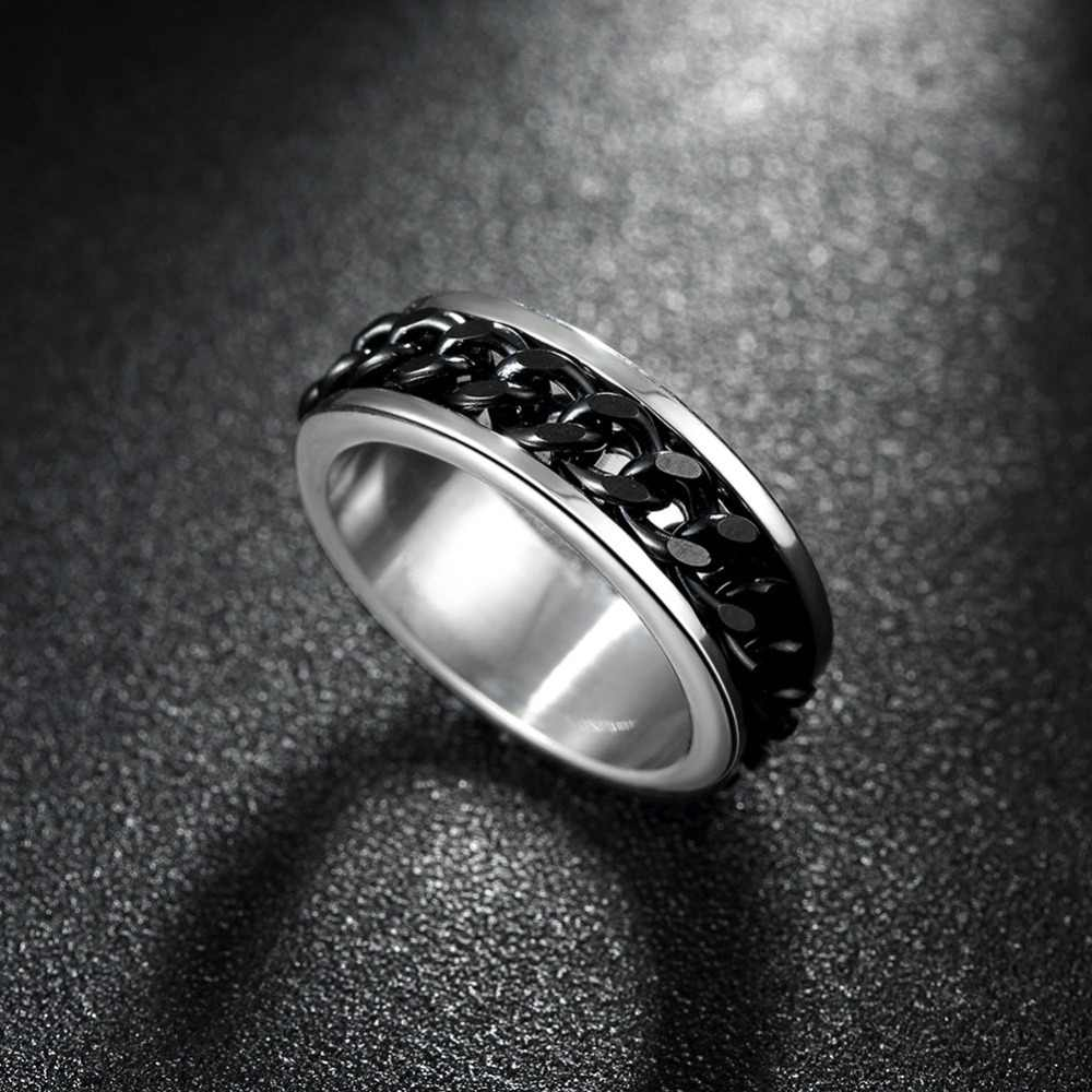 Панк-рок Интимные аксессуары Нержавеющаясталь черный цепи Spinner Кольца для Для мужчин Уникальный Стиль Свадебная вечеринка палец кольцо Лидер продаж smt0370