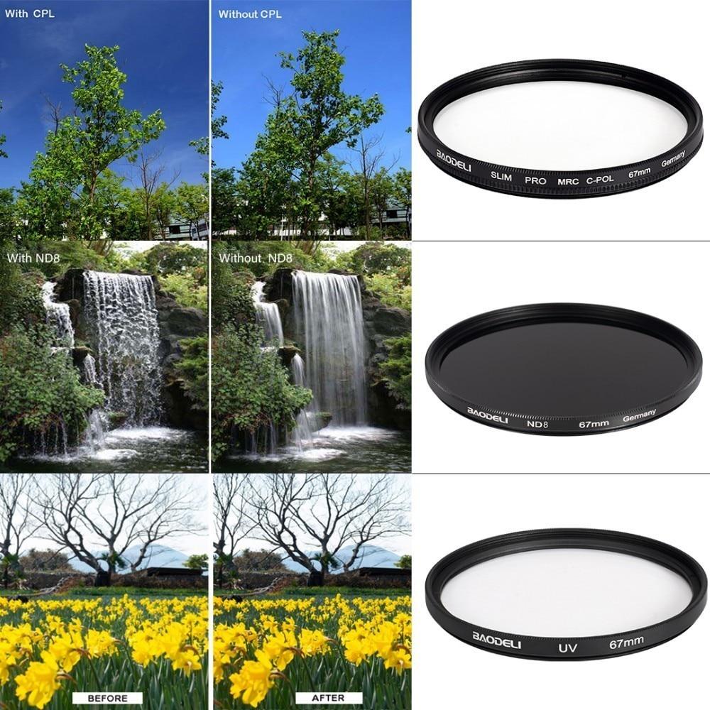72 BAODELI Dslr Mrc Filtro One Set CONCEPT UV CPL ND 8 Lens Filter 49 52 55 58 62 67 72 77 82 mm For Camera Cannon Nikon Sony a6000 (3)