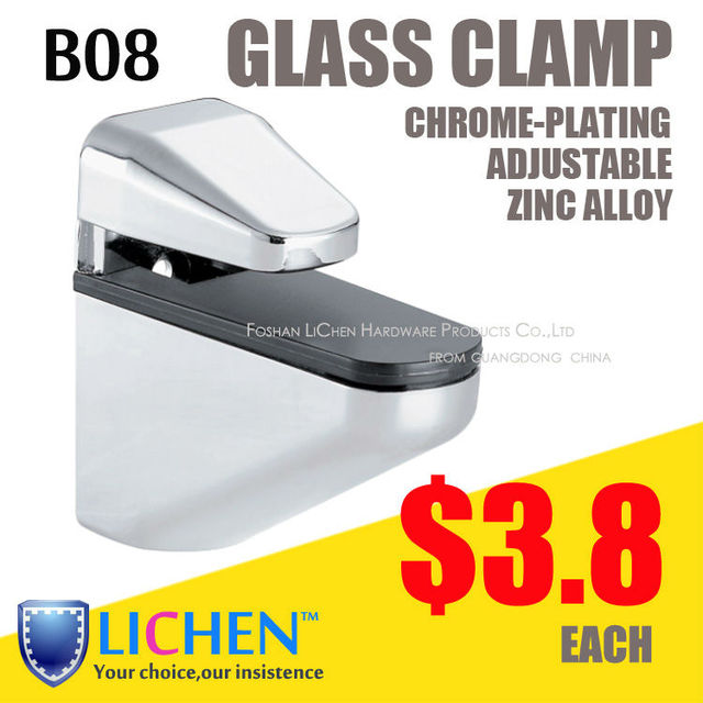 LICHEN(2pcs/lot)B08 Glass clamp support Chrome-plating zinc alloy large size glass clamp fitting clip bathroom glass accessory