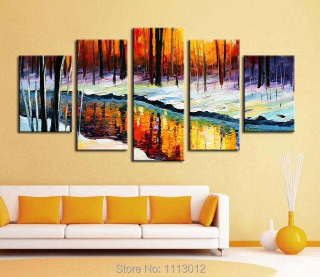 High Quality Birch Tree Oil Painting On Canvas 5 pcs Set Home ...