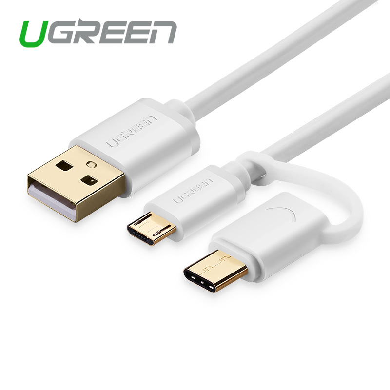 Ugreen Micro USB Cable 2 in 1 USB Type C Cable for Xiaomi 4C Nokia N1