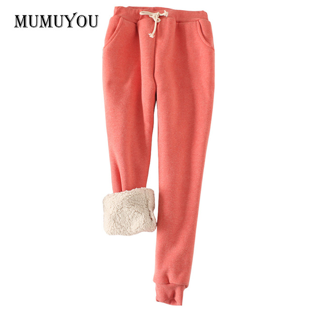 Women Girl Winter Harem Pants Warm Thicken Fleece Sherpa Casual Loose Joggers Trousers Drawstring Waist Slacks 200-A447