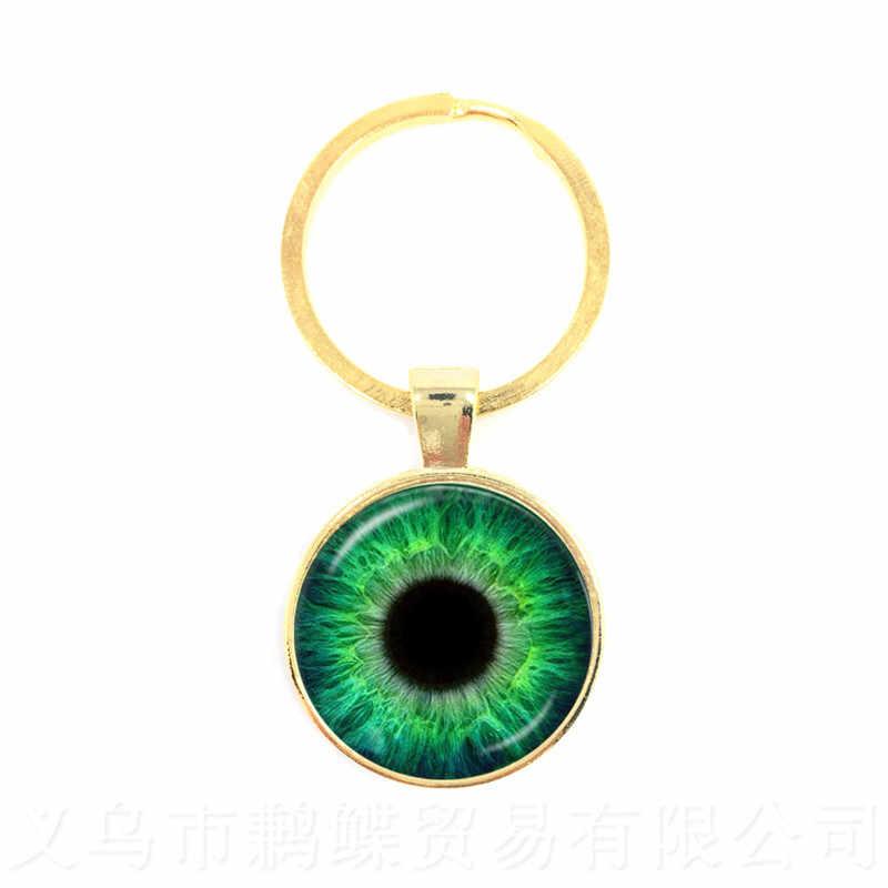 Urocze zielone oczy złe oko brelok piękne zwierzę smok koty oko 25mm szkło Cabochon brelok dla przyjaciół