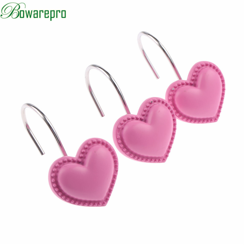 bowarepro 3D Pink Cartoon Heart Shower Hooks Curtain Hook Drapery Valance Hanger Home Cafe Hotel/Student Dormitory Decor 12PCS mymei london big ben pattern shower curtain bathroom waterproof fabric home decor