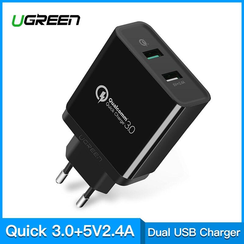 Ugreen carga rápida 3,0 30 W QC 3,0 cargador USB para iPhone X 8 cargador rápido para Samsung Galaxy s8 s9 Xiao mi 8 carga rápida 3,0