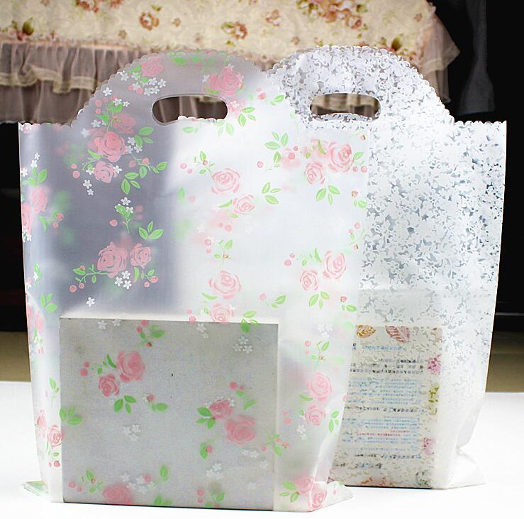 6 Sizes Large Handle Plastic Gift Bag Small Lace Ping With Boutique Packaging In Bags Wring