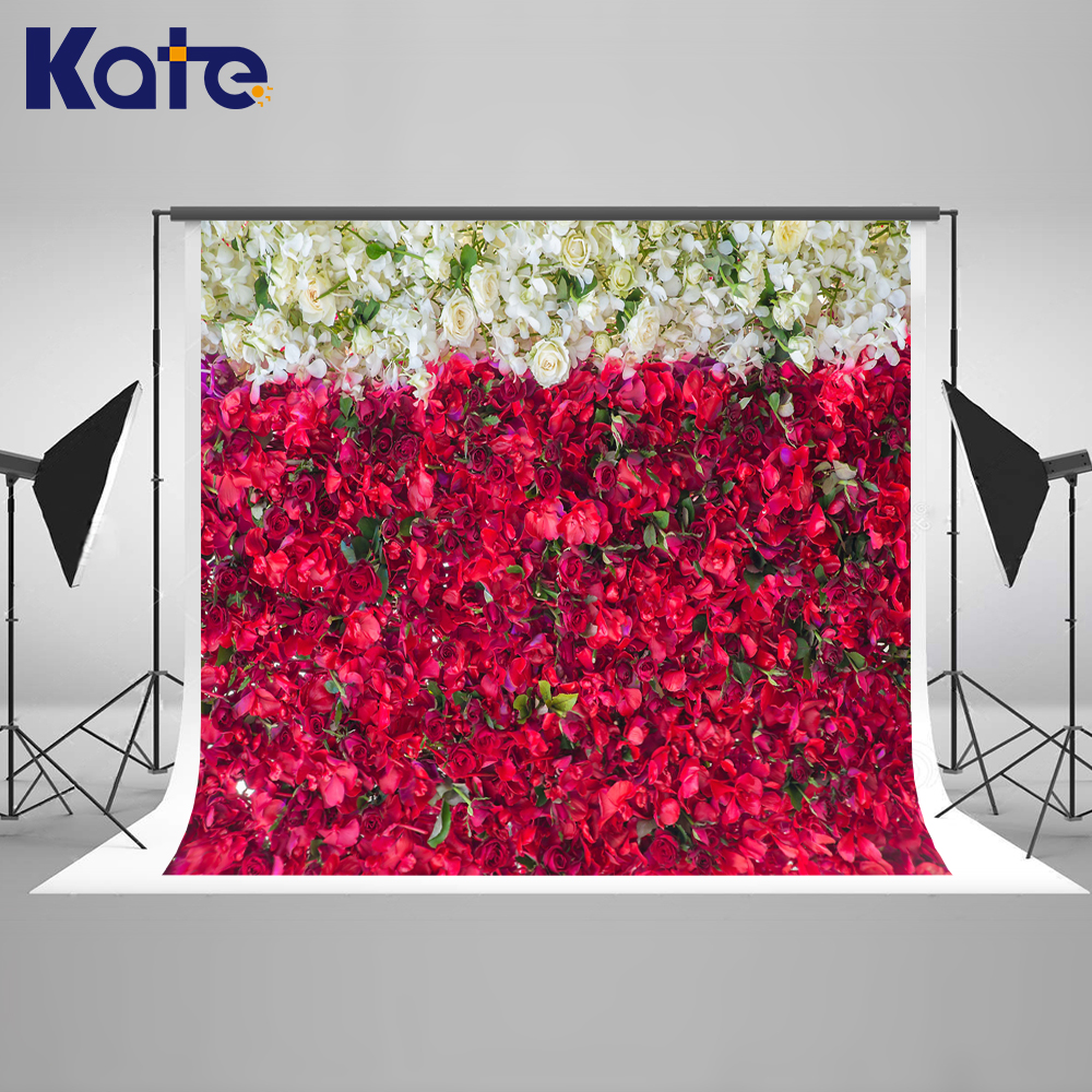 KATE Flower Wall Photo Background Wedding Backdrop10FT White And Red Foral Backgrounds For Photo Studio Wedding Photo Background kate photo background dream field