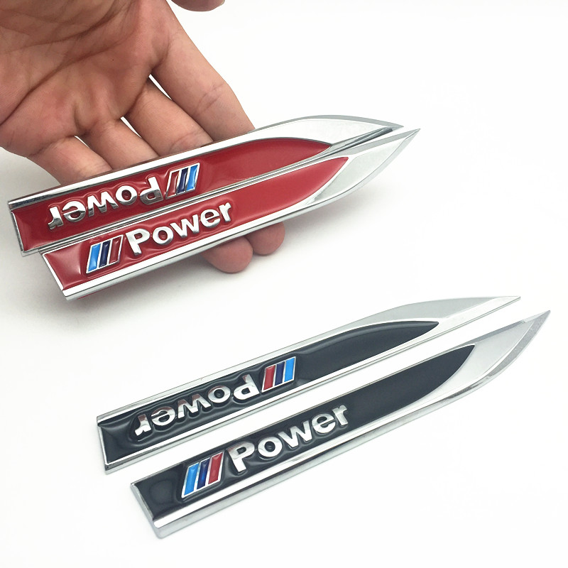 FDIK 2pcs/set new M Power <font><b>Emblems</b></font> Badge 3D Car <font><b>Sticker</b></font> Side Metal Knife Type Fender For <font><b>Bmw</b></font> E60 E90 E91 <font><b>F10</b></font> F15 F16 F30 M3 M5 image