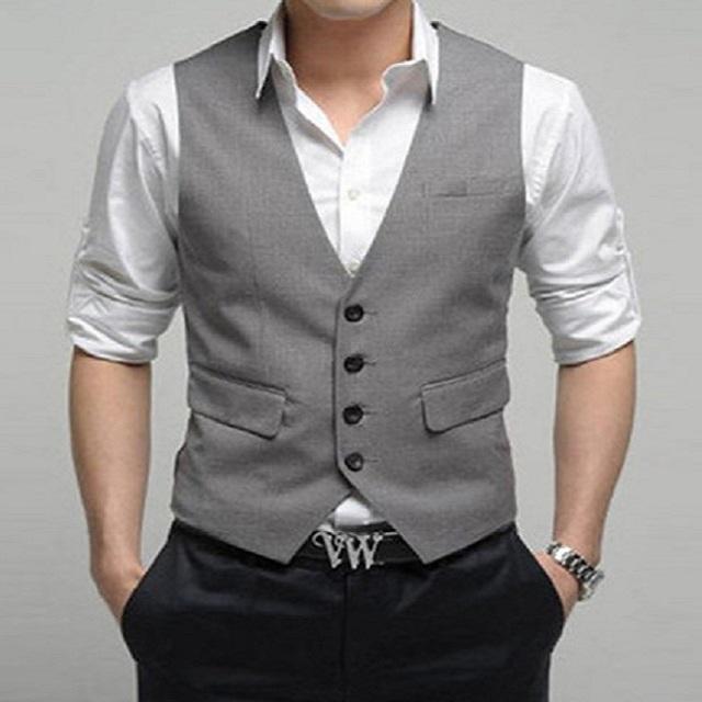 2016 novos homens Blazer coletes sólida ternos de algodão de moda masculina do negócio colete Single Breasted