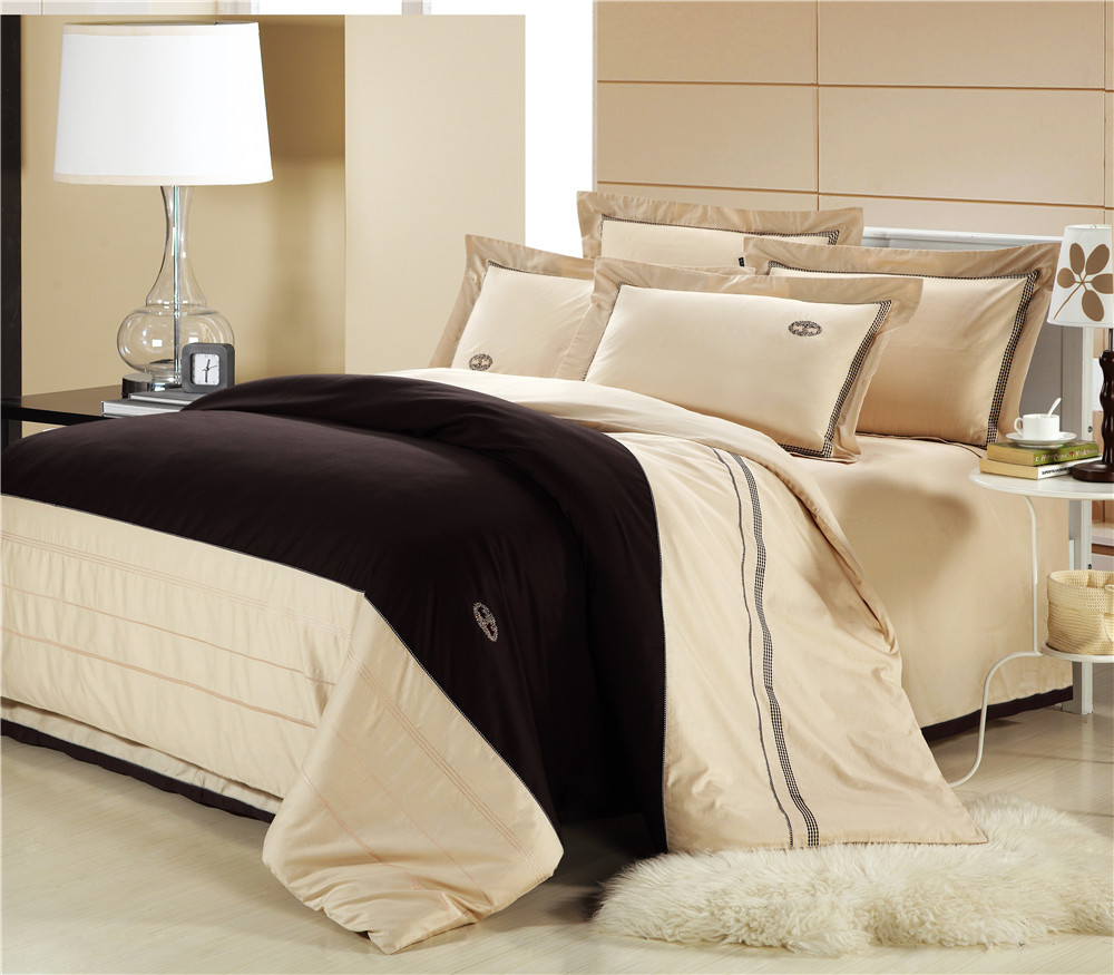 100 Cotton Beige Embroidery Bedding Set Cotton Duvet