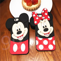 3D Cute Cartoon Case For Iphone 6 6s 6plus 5 5s SE Silicon Minnie Mickey Mouse