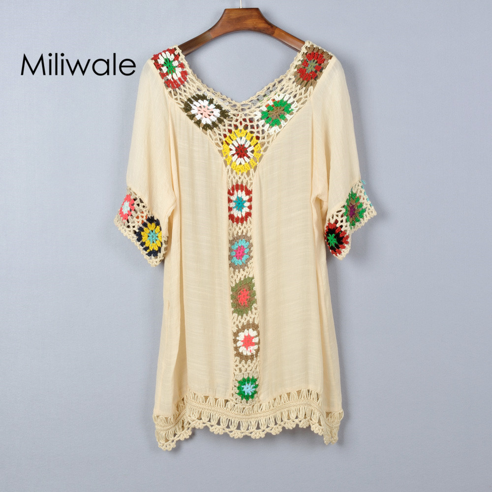 Women T-Shirt Plus Size Lace Hollow Out Shoulder Pullover Tops V-Neck Embroidery