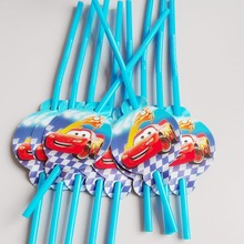 10pcs/lot Lightning Mcqueen car Theme Party Decoration Disposable Tableware Drinking Straws Supplies Kid Cute Toy Birthday
