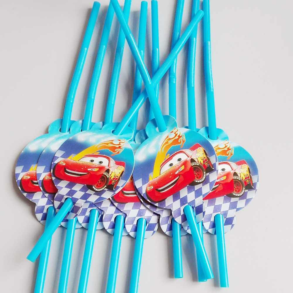 10pcs/lot Lightning Mcqueen car Theme Party Decoration Disposable Tableware Drinking Straws Party Supplies Kid Cute Toy Birthday