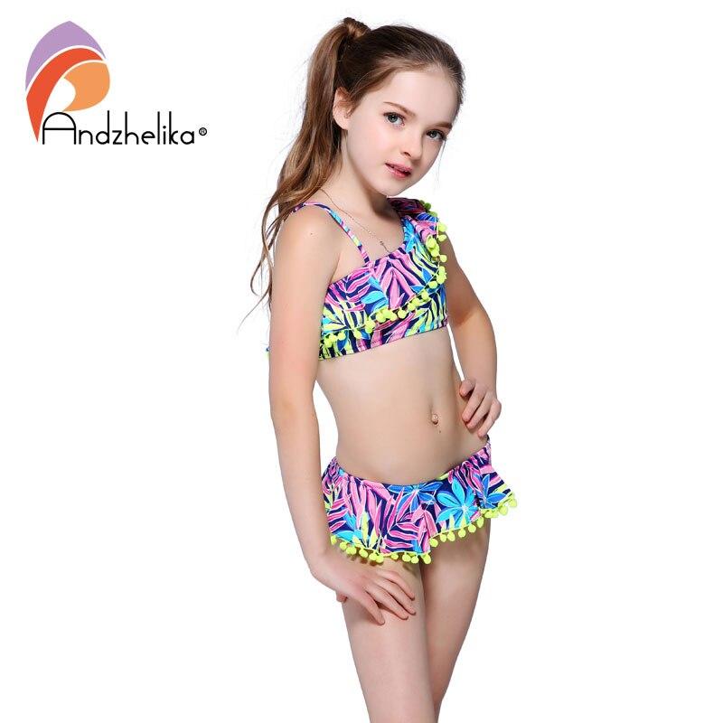 Andzhelika Bikini Children's Swimwear Ball Cute Lotus Leaf Dress Swimwear Two Piece Kid One Shoulder Swimsuit Girls Bathing Suit