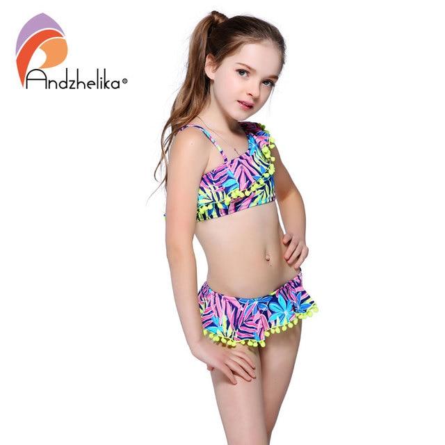 Andzhelika bikini costumi da bagno per bambini di sfera carino vestito foglia di loto costumi da - Costumi da bagno per ragazze ...