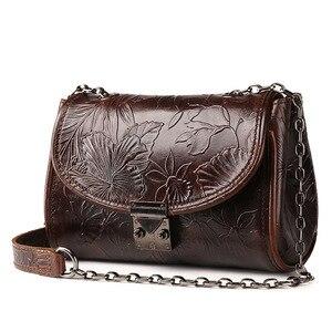 Image 2 - Johnature 2020 nouveau Vintage en cuir véritable fleur en relief rabat poche polyvalent épaule et sacs à bandoulière mode femmes rabat