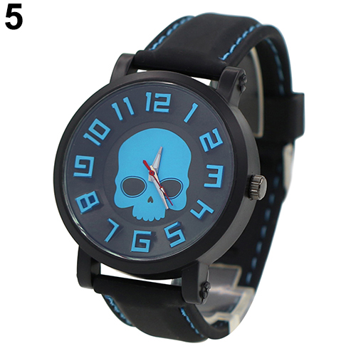 Hot Sales 2015 Fashion Sports Mens Silicone Skull Punk Quartz Wrist Watch Wristwatch