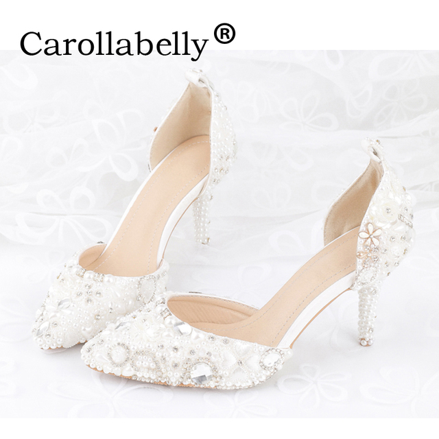 604fada2c0ddf3 2017new rhinestone pointed toe women high heels sexy women Sandals fashion  pearl decoration party wedding shoes bridal shoes