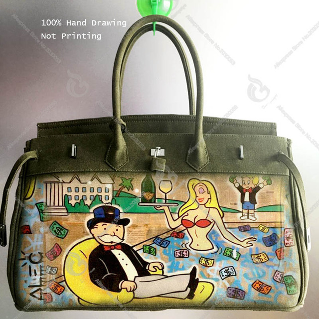 6b03addaf58c Alec Monopoly Art Hand printing Graffiti Design Bags Canvas HandBag Luxury  Bolsa Feminina Designer bag Women Tote Customize Gift